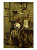 The Studio of Corot, or Young Woman Seated Before an Easel, 1868-70 Giclee Print by Jean-Baptiste-Camille Corot