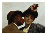 The Kiss, 1887 (Oil on Canvas) Giclee Print by Theodore Jacques Ralli