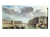 The Ile Saint-Louis and the Pont Marie in 1757 Giclee Print by Nicolas Raguenet