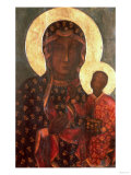 The Black Madonna of Jasna Gora, Byzantine-Russian Icon, 14th Century Impressão giclée