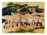 The Arrival of the Portuguese in Japan, Detail of the Right-Hand Section of a Folding Screen Giclee Print