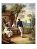 Black Slaves Seated Outside Their House in Martinique, 1775 Giclee Print by Le Masurier