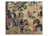 Children's Games (Kinderspiele): Detail of Left-Hand Section Showing Children Bowling Hoops Giclee Print by Pieter Bruegel the Elder