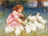 Kaninerne får mad Giclée-tryk af Frederick Morgan