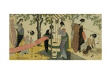 A Triptych of Girls Washing and Stretching Cloth under the Trees Giclee Print by  Toyokuni