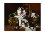 A Tabby Cat with Her Kittens in a Basket of Roses and Violets Giclee Print by Jules Le Roy