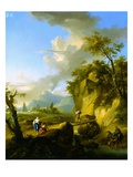 A Mountainous River Landscape with Figures Reproduction procédé giclée par Franz de Paula Ferg