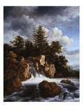 A Waterfall in a Wooded Landscape Giclee Print by Jacob van Ruisdael