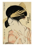 A Half-Length Portrait of the Courtesan Shirotama of the Tamaya Gicleetryck av Kitagawa Utamaro