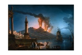 A Capriccio View of the Bay of Naples with Mount Vesuvius Erupting Behind Giclee Print by Lacroix De Marseille