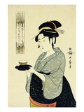 A Half-Length Portrait of Naniwaya Okita, Depicting the Famous Teahouse Waitress Serving a Cup of T Giclee Print by Utamaro