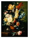 Ein Stillleben mit Rosen, Tulpen, Hyazinthen und Mauerblümchen Giclée-Druck von Paul Theodor van Brussel