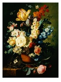A Still Life of Roses, Tulips, Hyacinths and Wall Flowers Giclee Print by Paul Theodor van Brussel