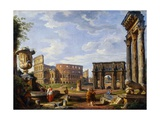 A Capriccio View of Rome Giclee Print by Giovanni Paolo Panini