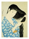 A Half-Length Portrait of a Beauty Combing Her Hair Giclee Print by Goyo