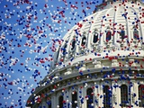 Balloons Floating over U.S. Capitol Dome Photographic Print by Joseph Sohm