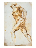 Anatomical Study: A Nude Striding to the Right His Hands Behind His Back Giclée-Druck von Peter Paul Rubens