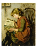 A Young Girl Reading Giclee Print by Charlotte Weeks