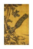 Bambou, pin et paons. Rouleau à suspendre, 1752 Reproduction procédé giclée par Shen Quan
