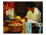 At the Pizza Place Premium Giclee Print by Pam Ingalls
