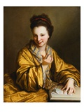 A Young Lady, Wearing a Yellow Robe, Seated at a Table, Beckoning Giclee Print by Jean-Baptiste Santerre