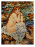 Bather Seated on a Sand Bank Giclee Print by Pierre-Auguste Renoir