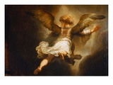 Detail of Angel Raphael Leaving Tobit and His Family Premium Giclee Print by  Rembrandt van Rijn