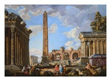 Capricci of Classical Ruins with the Colosseum and the Maison Carree, with Philosophers Discoursing Giclee Print by  School of Giovanni Paolo Panini
