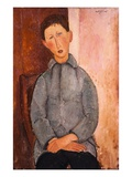Boy in a Blue Shirt Giclee Print by Amedeo Modigliani