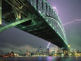 Bridge and Lightning at Sydney Harbour Photographic Print by Paul Souders
