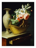 Bouquet of Lilies and Roses in a Basket Giclee Print by Antoine Berjon