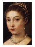 Detail of Female Wearing Pearl Jewelry from Girl in a Fur Giclee Print by Titian