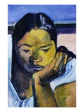 Detail of Woman from Te Faaturuma Giclee Print by Paul Gauguin