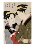 Double Half-Length Portrait of Moto, a Maidservant of the Yoshidaya and the Geisha Mizue Giclee Print by Momokawa Choki
