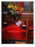 Flowers and Teapot on Red Premium Giclee Print by Pam Ingalls