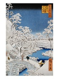 Drum Bridge and Setting-Sun Hill, Meguro Giclee Print by Ando Hiroshige