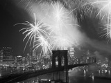 Fireworks over the Brooklyn Bridge Photographic Print by Bettmann