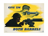 Give 'Em Both Barrels Poster Giclee Print by Jean Carlu