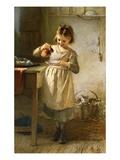 Un niña con un gatito Lámina giclée por Emily Farmer