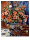 Geraniums and Cats Premium Giclee Print by Pierre-Auguste Renoir