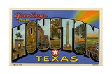 Greetings from Houston, Texas Postcard Giclee Print