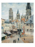 Grocer Street in Rouen, Early Morning Giclee Print by Camille Pissarro