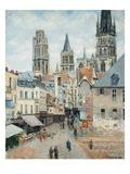 La strada della drogheria a Rouen, mattino presto Stampa giclée di Camille Pissarro