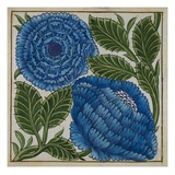 Large Blue Flower Watercolor Tile Design by William de Morgan Giclee Print by  Stapleton Collection
