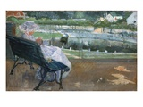 Lydia Seated on a Porch, Crocheting Giclee Print by Mary Cassatt