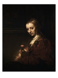 Lady with a Pink Giclee Print by Rembrandt van Rijn 