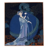 Dama con un dragón Lámina giclée por Barbier, Georges
