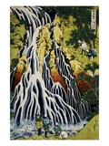 Kirifuri Waterfall, Mount Kurokami, Shimotsuke Province, from the Series A Journey to the Waterfall Giclee-vedos tekijänä Katsushika Hokusai