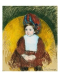 Margot in a Dark Red Costume Seated on a Round Backed Chair (La Petite) Giclee Print by Mary Cassatt