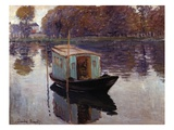 Monet's Studio Boat Premium Giclee Print by Claude Monet